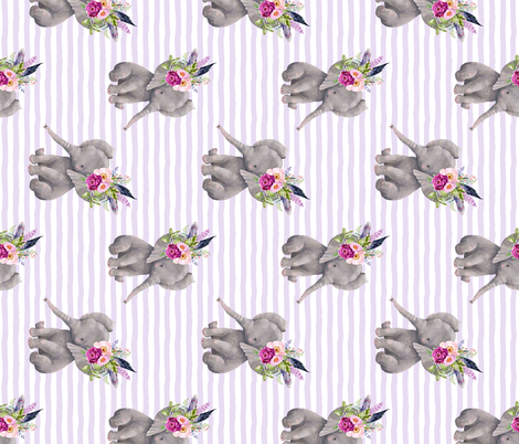 "14"" Boho Lilac Elephant - Lilac Stripes - 90 Degrees fabric by shopcabin on Spoonflower - custom fabric"
