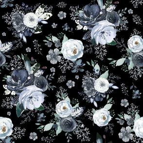 """36"""" Navy Black and White Florals - Black"""