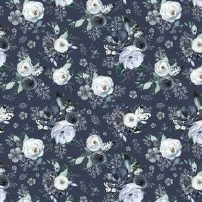 "4"" Navy Black and White Florals - Blue"
