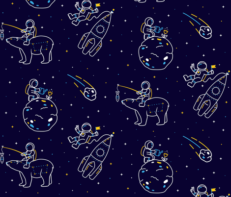 Funny astronauts in Space in linear style fabric by brazhnikova_ekaterina on Spoonflower - custom fabric