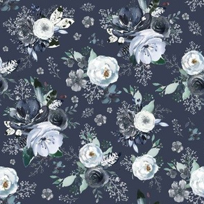 """8"""" Navy Black and White Florals - Blue"""