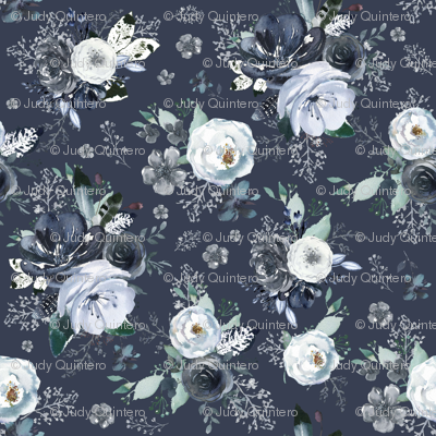 """36"""" Navy Black and White Florals - Blue"""