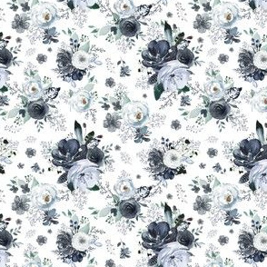 """4"""" Navy Black and White Florals - White"""