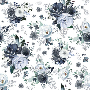 "36"" Navy Black and White Florals - White"