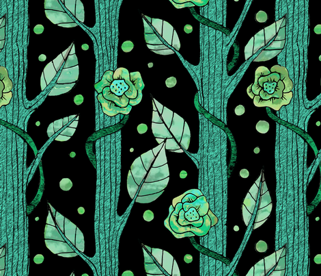 floral emerald forest fabric by lucybaribeau on Spoonflower - custom fabric