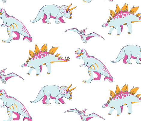 Princess Awesome Neon Dinosaurs fabric by mottle&daub on Spoonflower - custom fabric