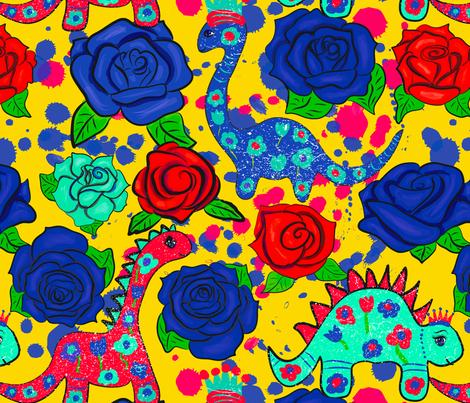 Princess Dinosaur fabric by orangefancy on Spoonflower - custom fabric
