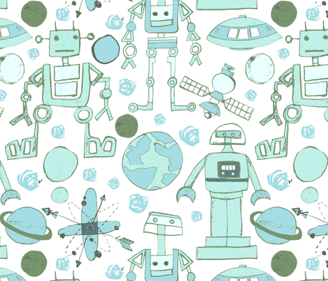Spacey Robots-green blue fabric by bridgettstahlman on Spoonflower - custom fabric
