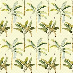 Palm Tree Motif Pattern on Soft Yellow Pattern