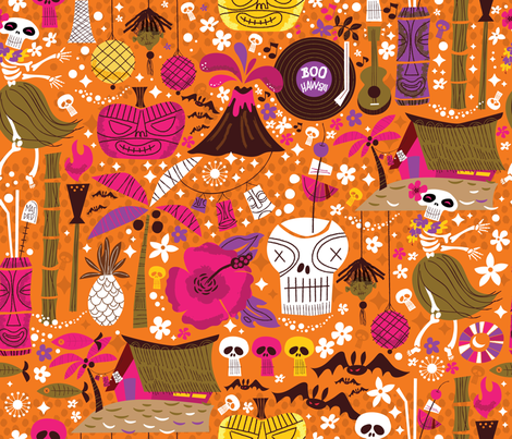Hulaween MidCentury Style  fabric by cynthiafrenette on Spoonflower - custom fabric