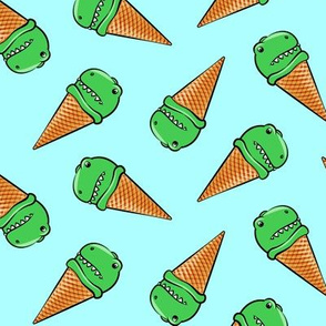 trex icecream cones - dinosaur ice cream - toss on light blue
