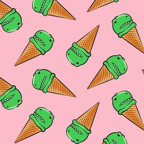 trex icecream cones - dinosaur ice cream - toss on pink