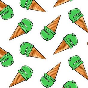 trex icecream cones - dinosaur ice cream - toss on white