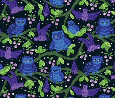 Bats-and-Owls fabric by jennifer_holbrook on Spoonflower - custom fabric
