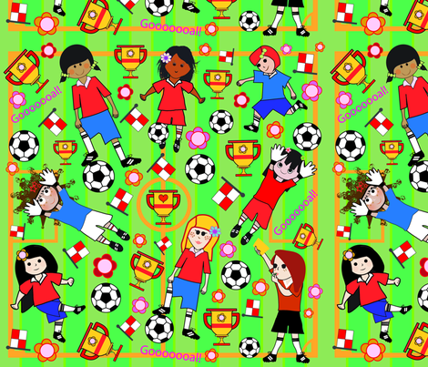 Princess Awesome  Soccer-01 fabric by loulii on Spoonflower - custom fabric