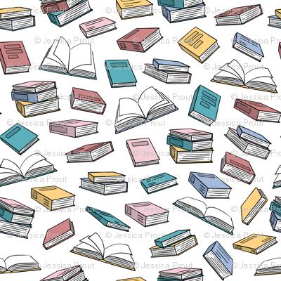 books - pastel on white