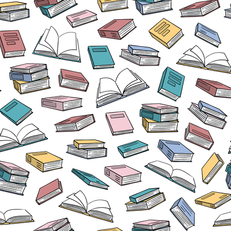 books - pastel on white fabric by littlearrowdesign on Spoonflower - custom fabric
