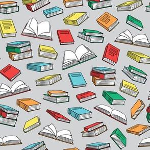 books on grey