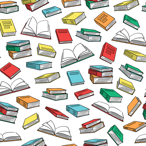 books on white fabric by littlearrowdesign on Spoonflower - custom fabric
