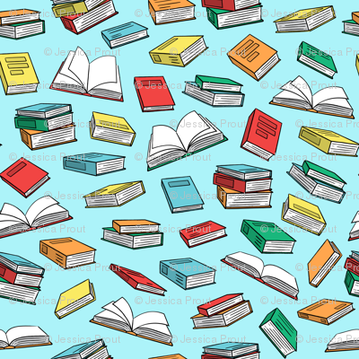 books on blue
