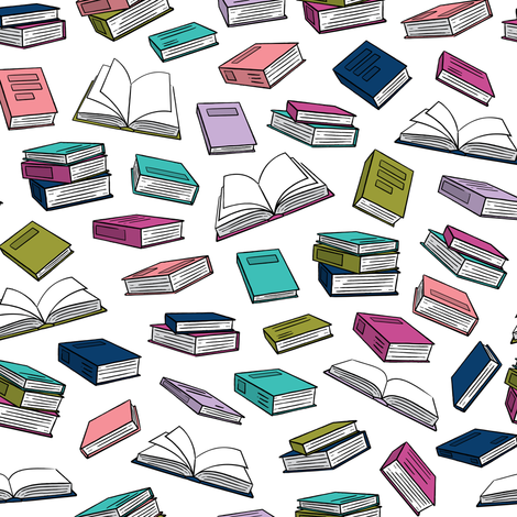 books - good cheer on white fabric by littlearrowdesign on Spoonflower - custom fabric