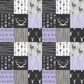 "3"" Patchwork Deer - lilac, black, and grey"