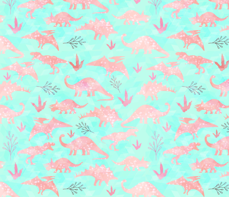 Mint and Coral Dinosaurs fabric by little_lizzie_design on Spoonflower - custom fabric