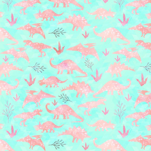 Mint and Coral Dinosaurs