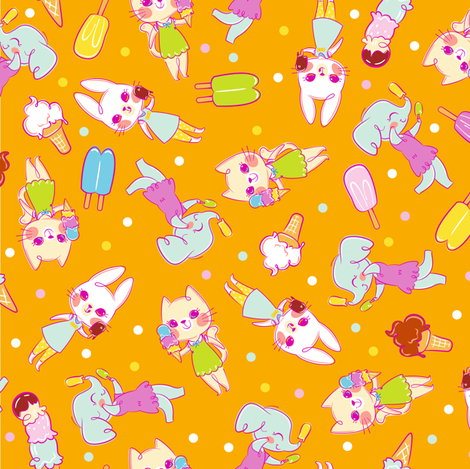 Ice Cream Friends - Orange fabric by sweetsurprises on Spoonflower - custom fabric
