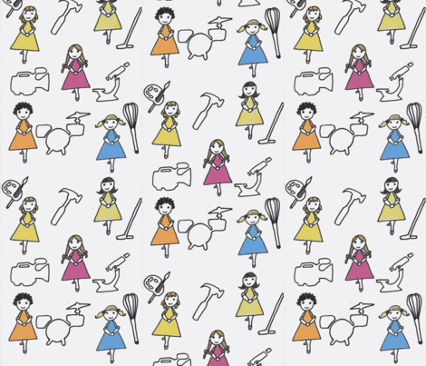 Awesome Girls-white fabric by dizzybeedesigns on Spoonflower - custom fabric