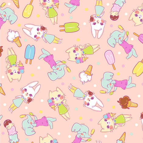 Ice Cream Friends - Pink fabric by sweetsurprises on Spoonflower - custom fabric