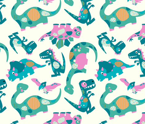 Princess Awesome - Jumbo Dinosaurs fabric by sarah_treu on Spoonflower - custom fabric