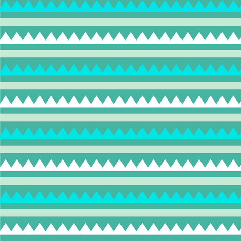 Teal Zig-Zag Stripes fabric by sarah_treu on Spoonflower - custom fabric