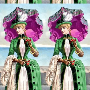 victorian edwardian big feather hats fuschia purple parasol umbrella green gown beautiful young woman lady 19th 20th century sky sea roses flowers jackets romantic  beauty vintage antique elegant gothic lolita egl  ocean clouds