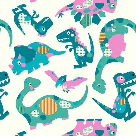 Princess Awesome Dinosaurs - Medium Size fabric by sarah_treu on Spoonflower - custom fabric