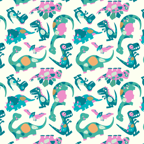 Princess Awesome Dinosaurs - Mini Size fabric by sarah_treu on Spoonflower - custom fabric
