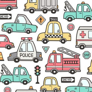 Cars Vehicles Doodle fabric on White