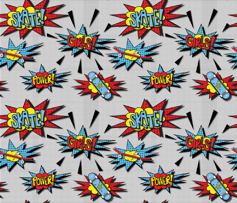 Skater Girl  Power fabric by saint_shores on Spoonflower - custom fabric