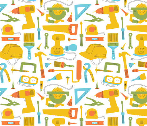 Maker Tools, Large - White  fabric by lambdesigngoods on Spoonflower - custom fabric
