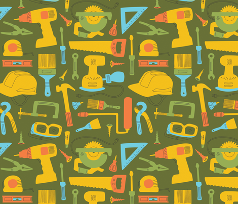 Makers Tools, Large - Green fabric by lambdesigngoods on Spoonflower - custom fabric