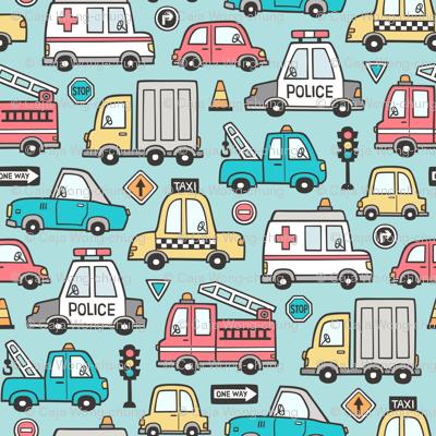 Cars Vehicles Doodle fabric on Aqua Blue
