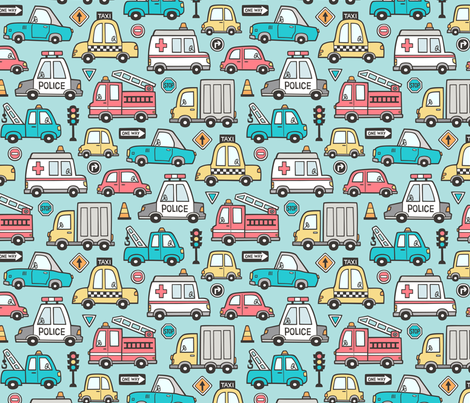 Cars Vehicles Doodle fabric on Aqua Blue fabric by caja_design on Spoonflower - custom fabric