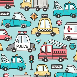 Cars Vehicles Doodle fabric on Aqua Blue