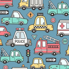 Cars Vehicles Doodle fabric on Dark Blue Navy