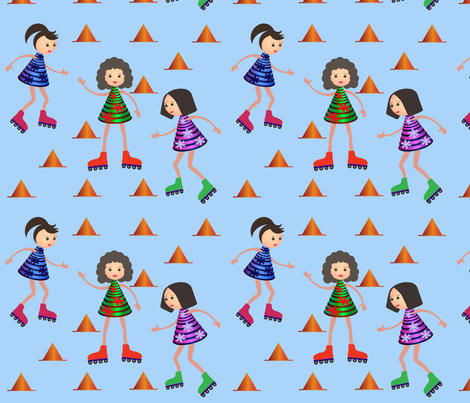 Girls on rollers fabric by inna_alborova on Spoonflower - custom fabric