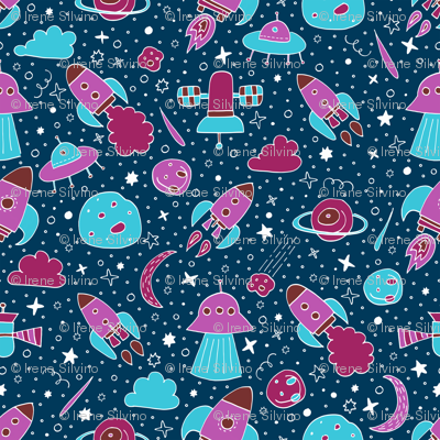 P #84 SPACE - We are going exploring! (pink&blue)