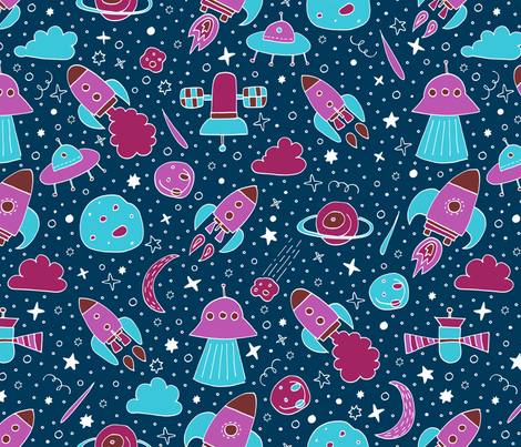 P #84 SPACE - We are going exploring! (pink&blue) fabric by irenesilvino on Spoonflower - custom fabric