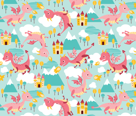 dragons fabric by heleenvanbuul on Spoonflower - custom fabric