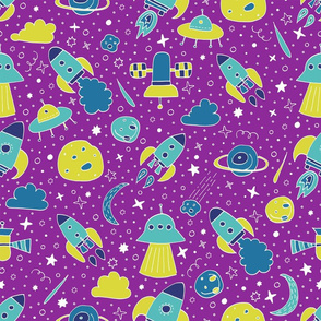 P #87 SPACE - We are going exploring! (pink background)