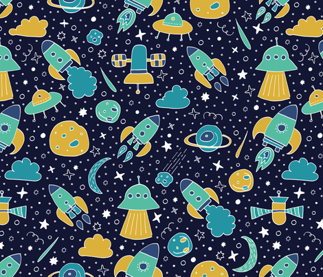 P #90 SPACE - We are going exploring! (blue & yellow) fabric by irenesilvino on Spoonflower - custom fabric